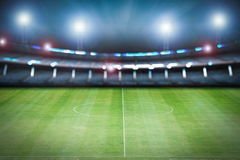 Empty stadium with soccer field Stock Photography