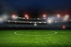 Empty stadium with soccer field Royalty Free Stock Photo