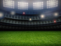 Empty stadium with soccer field Stock Image