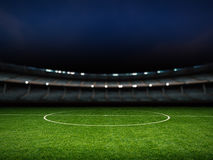 Empty stadium with soccer field Royalty Free Stock Photography