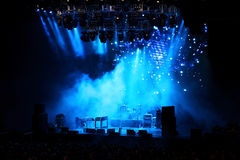 Empty stage in blue light. Before the performance Stock Photography