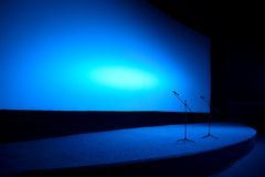 Empty stage in blue light Stock Photos