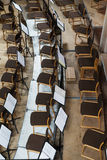 Empty stage with chairs and music stands. Top view Stock Image