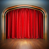 Empty stage. A 3d illustration blank template of theater scene with red velvet curtains Stock Photography