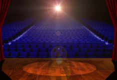 Empty Stage and Empty Seats with Bright Spotlight Stock Photos