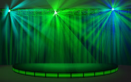 Empty stage with green curtain Royalty Free Stock Images