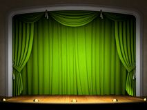 Empty stage with green curtain. In expectation of perfomance Stock Photography