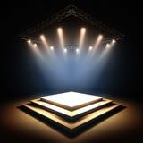Empty stage illuminated by spotlights. Royalty Free Stock Photo