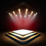 Empty stage illuminated by spotlights. Stock Image