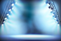 Empty stage illuminated by spotlights. Vector illustration. Empty stage before fashion show illuminated by spotlights. Vector illustration Royalty Free Stock Images