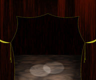 Empty Stage Illustration. Drawing of an empty stage with burgundy curtains trimmed in gold and a wooden floor Stock Image
