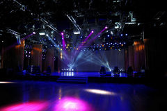 Empty stage in light. An empty stage in colorful light beam Stock Image
