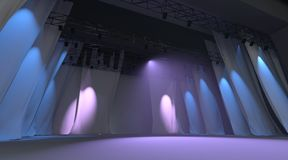 Empty stage with lights Stock Photo