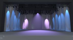 Empty stage with lights Stock Image