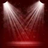 Empty stage with lights on red background Stock Image