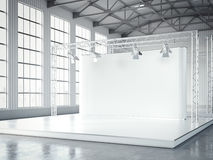 Empty stage with lightspots in modern exhibition interior. 3d rendering Royalty Free Stock Images