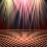 Empty stage lit with lights on red background Stock Photo