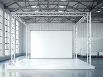 Empty stage with metal framework and blank billboard. 3d rendering Stock Image