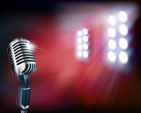 Empty stage with microphone. Vector illustration. Stock Photo