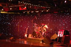 Empty stage for music performance. Preparation for live rock concert Stock Image