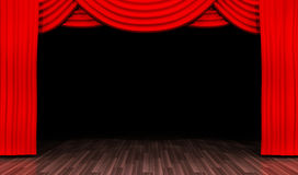 Empty stage for performances and red curtain Stock Photography
