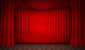 Empty stage for performances and red curtain Royalty Free Stock Photo