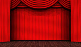 Empty stage for performances and red curtain Stock Image