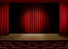 Empty stage with red curtain Stock Photos