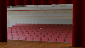 Empty stage with red curtain (3d render) Stock Photos