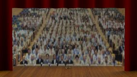 Empty stage with red curtain (3d render) Stock Photo