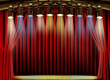 Empty stage with red curtain and spot lights Royalty Free Stock Photo