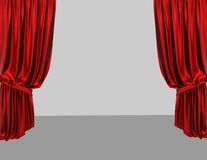 Empty stage with red curtains Royalty Free Stock Photography