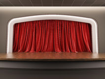 Empty stage with red velvet curtain. A 3d illustration blank template layout of empty stage with red velvet curtain Stock Images