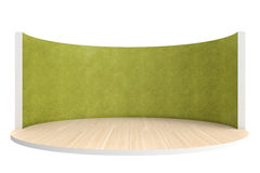Empty stage or round room with wooden floor and green wall Royalty Free Stock Photography