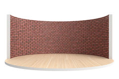 Empty stage or round room with wooden floor and red brick wall Royalty Free Stock Photography