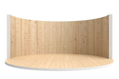 Empty stage or round room with wooden floor and wooden wall Royalty Free Stock Images