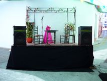 Empty stage set in village street Royalty Free Stock Photo