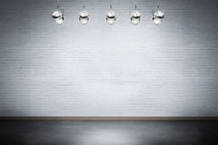 Empty stage. With shining spotlights royalty free stock image