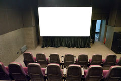 Empty stage in the small movie theater Stock Image