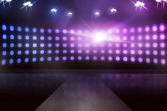 Empty stage with sparkling lamp. You can put your design on it Stock Image