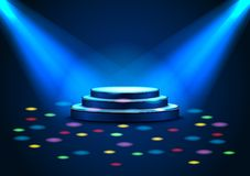 Empty stage with spotlights on stage Royalty Free Stock Image
