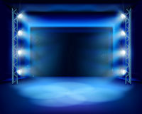 Empty stage with spotlights. Vector illustration. Stock Photo