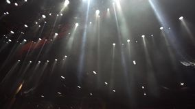 Empty stage with spotlights, white lights stock footage