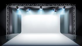 Empty stage in television studio. Vector illustration. Stock Photos