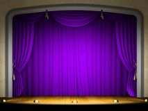 Empty stage with violet curtain. In expectation of performance Stock Images