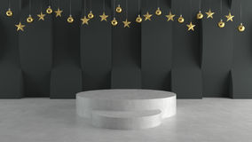 Empty stage on wave pattern background with hanging  balls and stars ornaments. For new year or Christmas theme. 3D rendering. Royalty Free Stock Photography