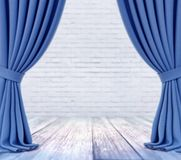 Empty stage with white brick wall and blue curtains with focus on white wood plank floor stock illustration