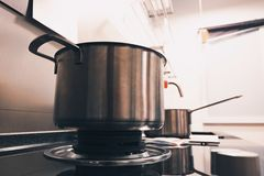 Empty stainless steel pot on gas stove Stock Image