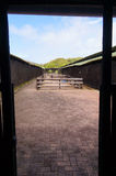Empty stall in ostrich farm,Cape Town,South Africa. Royalty Free Stock Image