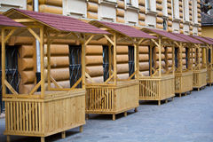 Empty stalls. For souvenirs early morning on a street Royalty Free Stock Photography